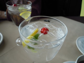 Water with lemon lime and cranberry garnish.jpg