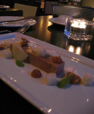 RESTAURANT NEWTOWN, MONTREAL - Foie Gras terrine, caramelized pear pure, almond nougatine.jpg