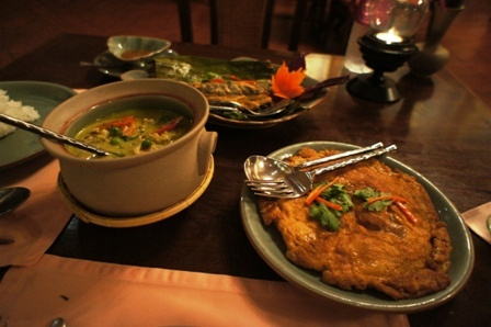 Baan Kanitha - Mains - River prawns in green curry, sour sausage omlette, setamed cotton fish in Thai herbs.JPG