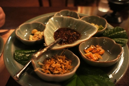 Baan Kanitha - Pandan leaves chilies dried shrimp roast coconut shrimp paste sauce.JPG