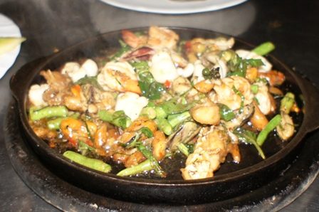Lek Seafood - Hot Plate of seafood.JPG