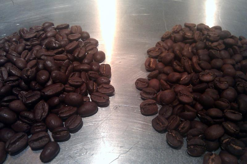 2nd roast brazilian right, eight o&#39;clock colombian left.jpg