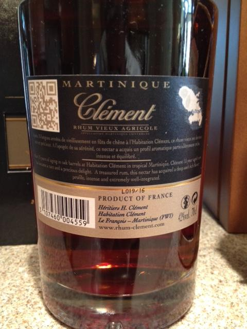 rum rhum from windjammer trip 5 Clement 15yo back.JPG