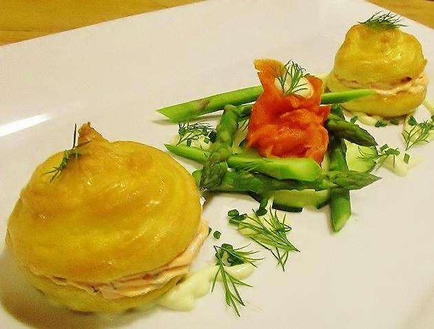 Cheese Gougeres with smoked salmon and asparagus.JPG