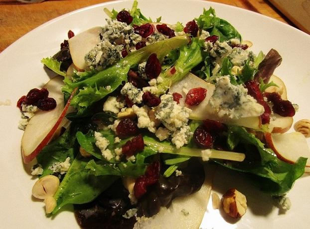 Pear, Blue Cheese and Cranberry Holiday Salad with Toasted Hazelnuts.JPG